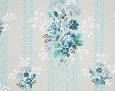 1940's Vintage Wallpaper - Floral Wallpaper with Blue Roses on Blue and White Stripe