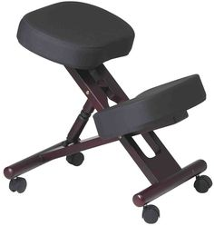Office Star Ergonomically Designed Mahogany Finished Wood Knee Chair Featuring Memory Foam and Coal Fabric with Dual Wheel Carpet Casters Cool Office Desk, Ergonomic Kneeling Chair, Office Star, Adjustable Stool, Ball Chair, Executive Office Chairs, Black Cushions, Memory Foam, Wheels