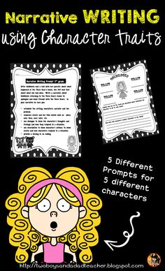 Do students have trouble getting into character to write a narrative? by examining character traits Teaching Narrative Writing, Writing Prompts For Writers, Picture Writing Prompts, Writing Resources, Writing Ideas, Love Teacher, Third Grade, Grade 3, Character Trait