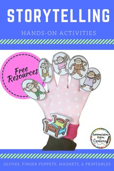 Hands-on activities for retelling and storytelling. Free templates for storytelling gloves, magnetic storyboard, finger puppets, and recording sheets. 5 Little Monkeys Jumping on the Bed Retelling Activities, Hands On Activities, Book Activities, Toddler Activities, Preschool Books, Preschool Curriculum, Sensory Activities, Preschool Ideas, Homeschooling
