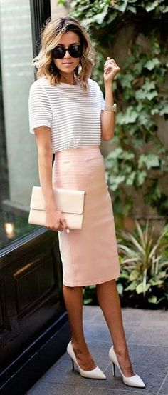 #spring #outfits Stripped White Tee + High Waisted Pastel Pink Pencil Skirt + White Pumps
