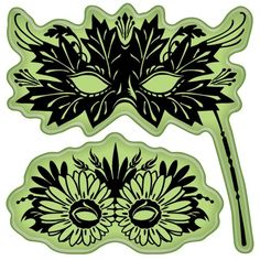 Leaves Venetian Masks Cling Stamps - Inkadinkado