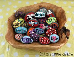 I made a handful of these with individual letters on them -- fun to mess with. >>in His Grace: Painted Rocks