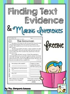 FREEBIE - Find the text evidence and making an inference reading comprehension passage!