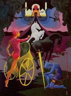 The Chariot - Navigators of the Mystic Sea Tarot by Julia Turk Best Tarot Decks, The Chariot Tarot, The Hanged Man, Online Tarot, Tarot Major Arcana, Wheel Of Fortune, Book Of Shadows, Archetypes, Tarot Cards