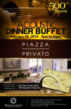 Privato Hotel- Acoustic dinner buffet flyer