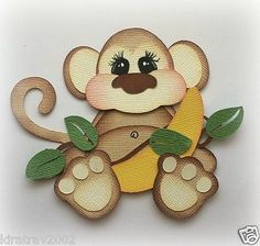 Die Cut premade paper piecing monkey stuffies scrapbooking embellishment by My tear bears by Kira Scrapbook Images, Scrapbook Borders, Scrapbook Embellishments, Scrapbook Cards, Scrapbooking, Paper Craft Supplies, Punch Art, Paper Punch, Scrapbook Paper Crafts
