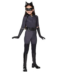 Kids Catwoman Costume Deluxe - Batman The Dark Knight - Spirithalloween.com  sc 1 st  Pinterest : child deluxe catwoman costume  - Germanpascual.Com