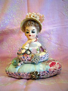 Lady Head Vase Pin Cushion by Beth's Bagz