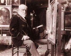Photo of the French artist Léon Bonnat (1833-1922) at work in his studio