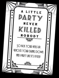 Gatsby Party Sign for 1920's / Prohibition Event