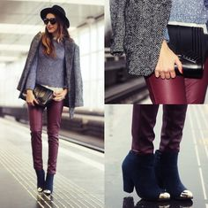Burgundy trousers and black trilby wide brim hat