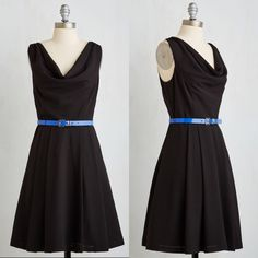 ModCloth Cowl Neck Black Dress with Belt Adorable dress from ModCloth. Brand new never worn.  Sold out online.  See description above. ModCloth Dresses