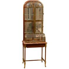 19th Century Rare French Brass and Glass Apothecary Cabinet - Polyvore