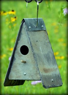 Slate Birdhouse Cottage Garden / Reclaimed / Stone / Squirrel Proof / Wren #bird