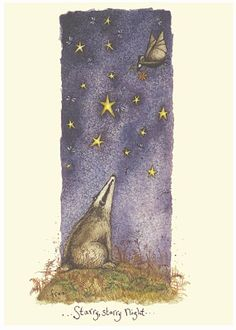 - Starry Starry Night - A Two Bad Mice card by Fran Evans Badger Illustration, Illustration Art, Planet Drawing, Most Popular Artists, Yoga, Painting Wallpaper, Animal Sketches, Naive Art, Comic
