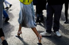paris fashion week street style ss 2017, pleated skirt, metallic midi skirt, oversized sweater, day to night dressing