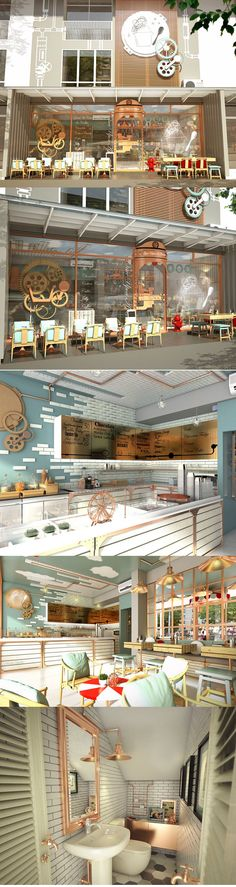 Once Upon A Cream ice-cream shop by MADA, Hua Hin – Thailand. Restaurant Interior Design, Cafe Interior, Shop Interior Design, Facade Design, House Design, Gelato Shop, Industrial Cafe, Retail Store Design, Cafe Shop