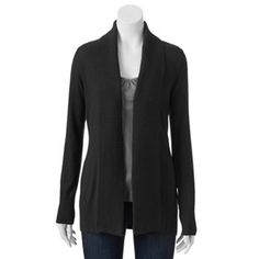 Croft & Barrow® Ribbed Open-Front Cardigan - Women's