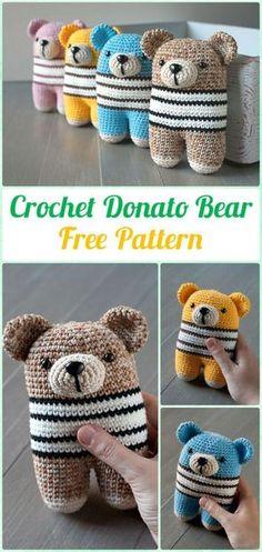 Amigurumi Crochet Two Legged Donato Bear Free Pattern - Amigurumi Crochet Teddy Bear Toys Free Patterns