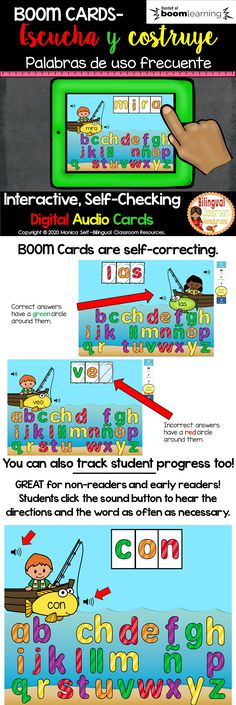 Need a fun, interactive game to practice sight words in Spanish? Well, look no further as my BOOM Cards Listen & Build it High Frequency Words in Spanish-Construye palabras de uso frecuente will provide an exciting and engaging literacy center for your students.#distancelearning #digitallearning #palabrasdeusofrecuente #literacycentersinspanish #kindergarten #literacycenters #lectoescritura #boomcardsenespañol #educacionprimaria #firstgradeactivities #firstgradereading #primergradoprimaria Bilingual Classroom, Bilingual Education, Classroom Language, First Grade Activities, Classroom Activities, Toddler Activities, Spanish Teaching Resources, Teacher Resources, Spanish Exercises