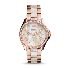 Cecile Rose-Tone & Horn Acetate Stainless Steel Watch