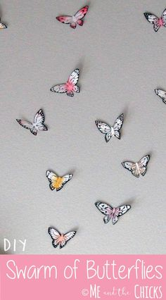 DIY Swarm of Butterflies. Make a magical swarm of butterflies. These are perfect for a girl's room!  Find more DIY and crafts with kids at meandthechicks.com