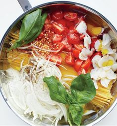 Martha Stewart's genius one-pan pasta INCLUDES all the fixins. Right in the water. Boom.