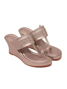Hand made in premium smooth mettalic leatherette and finished with cushioned in-sole, braid detailing and a toe loop. (Heel height as per the image is inches approx) Blush Shoes, Indian Shoes, Bridal Sandals, Bare Foot Sandals, Flat Sandals, Flip Flop Shoes, Wedding Heels, Cute Sandals, Beauty