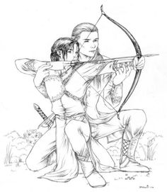 Aw Legolas teaching Eldarion(Aragorn and Arwen's son) to shoot a bow!
