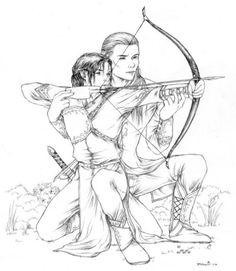 Aw Legolas teaching Eldarion(Aragorn and Arwen's son) to shoot a bow!