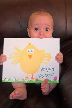 Charlie's Easter chick on canvas!