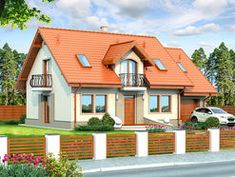DOM.PL™ - Projekt domu DN Karmelita mała CE - DOM PC1-01 - gotowy koszt budowy Simple House Design, Design Case, Home Fashion, Malaga, House Plans, Farmhouse, Cabin, House Styles, Modern