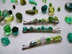 DIY Beaded Bobby Pins by rosella.  A fun way to use up mismatched beads.