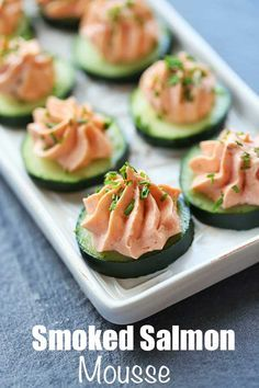 An easy recipe for smoked salmon mousse made with cream cheese and piped on cucumber slices. It's an easy recipe that produces impressive results. Salmon Mousse Recipes, Smoked Salmon Mousse, Smoked Salmon Cream Cheese, Smoked Salmon Appetizer, Salmon Salad Recipes, Smoked Salmon Recipes, Fish Recipes, Seafood Recipes, Appetizer Recipes