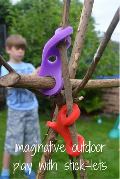 Outdoor play with stick-lets, a simple but brilliant product that takes den building and creative play to a whole new level.