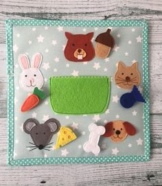 Animals and food matching game quiet book page Soft book Felt book Gift for toddler Gift for baby Quiet book for kids Learning toy Customize - Toddlers Diy Kids Learning Toys, Baby Quiet Book, Quiet Book Patterns, Felt Quiet Books, Animal Books, Busy Book, Toddler Gifts, Book Gifts, Infant Activities