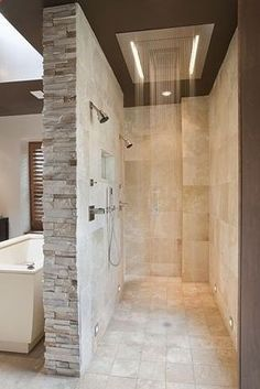 A walk-in shower means NO GLASS TO CLEAN. | 31 Insanely Clever Remodeling Ideas For Your New Home-------------------- I have always wanted a walk in open air shower....