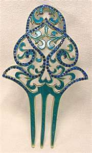 Art Deco Celluloid Rhinestone Hair Comb (Accessories, Combs, Pins ...      www.tias.com