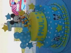 Baby Mickey Mouse 1st Birthday Cake by estella's cakery