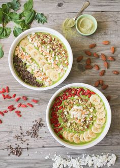 Matcha-colada Smoothie Bowl. Like a vacation for your taste buds. (Vegan and GF)