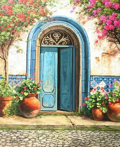 Solve Blue door jigsaw puzzle online with 154 pieces Pintura Colonial, Old Doors, Painted Doors, Painting Inspiration, Painting & Drawing, Landscape Paintings, Watercolor Paintings, Art Drawings, Art Projects