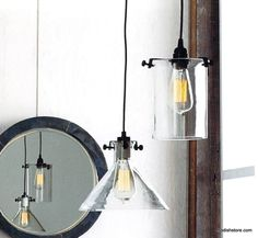Roost Clear Glass Cylinder & Funnel Lamps
