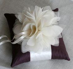 Plum and Ivory Ring Bearer Pillow :  wedding bouquet ceremony eggplant plum ring ring bearer ring pillow Eggplant Ivory Wedding Pillow
