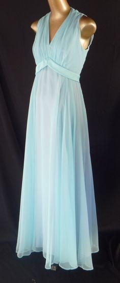 Vintage 60s Goddess Dress Evening Gown Aqua Blue Rayon Chiffon
