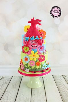 Trolls Cake 4th Birthday Cakes, Trolls Birthday Party, Girl 2nd Birthday, Troll Party, 6th Birthday Parties, Birthday Ideas, Bolo Trolls, Trolls Cakes, Trolls Poppy