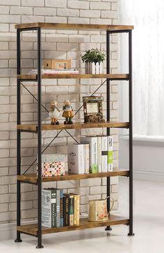 Barritt Antique Nutmeg Wood Metal Bookcase (For purchase)