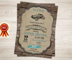 Vintage Race Car Baby Shower Invitation. Car Boy by TopDigitalArt