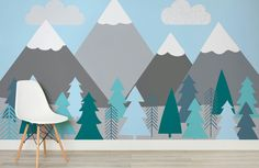 Designs for both girls & boys, view our collection of nursery wallpaper. Create nursery murals to fuel their imagination & inspire young minds. Tree Wallpaper Mural, Tree Wall Murals, Kids Room Murals, Nursery Wallpaper, Mural Wall Art, Kids Wallpaper, Painted Wallpaper, Nursery Wall Murals, Clouds Nursery