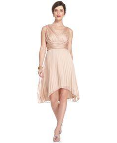 London Times Dress, Sleeveless Empire Waist Pleated High Low Hem - Womens Wedding Dresses - Macy's